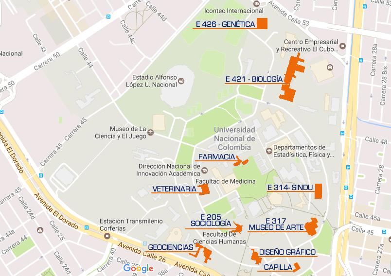 Mapa Universidad de Colombia. localización proyectos cubiertas